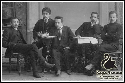 Тукай среди членов редколлегии газеты «Эль-Ислах» («Реформа»). Город Казань. 1907-1908 годы